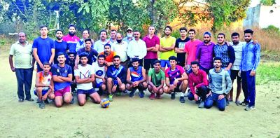 BDC Chairman Hiranagar interacts with volleyball players