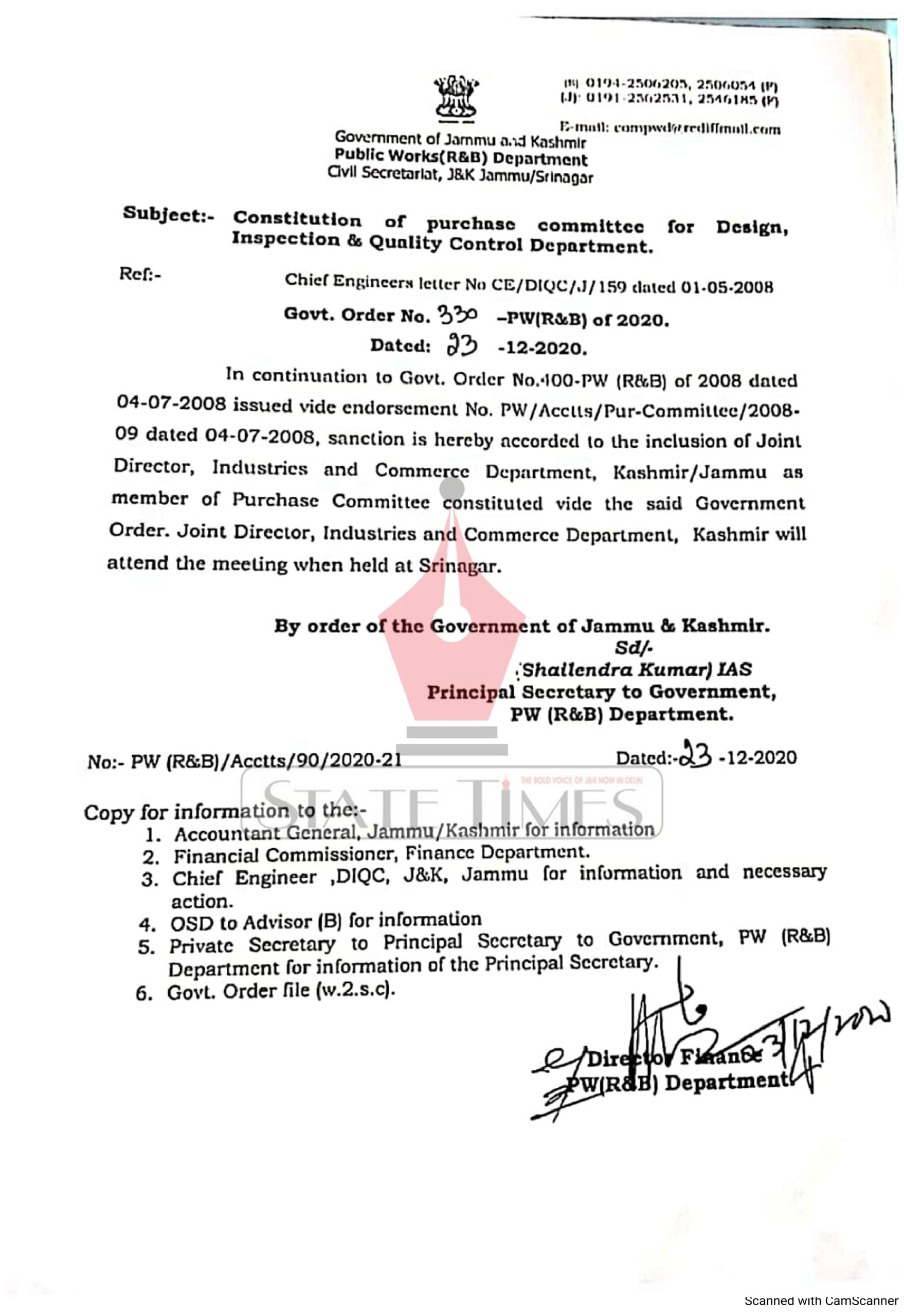 Public Works Deptt constitutes purchase committee for design, inspection & quality control