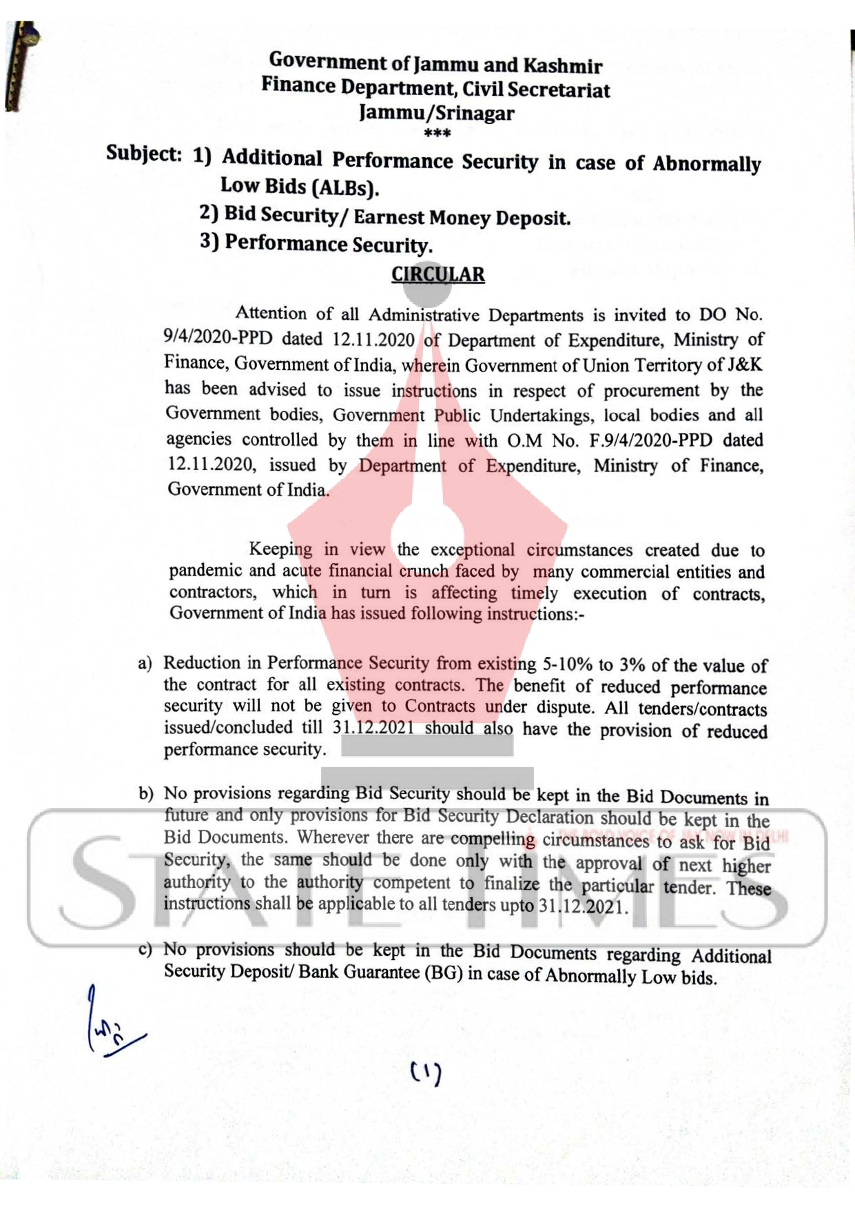 J&K Finance Deptt issued instructions for timely execution of contracts