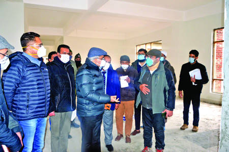 Dulloo inspects progress of ongoing works at GMC Anantnag