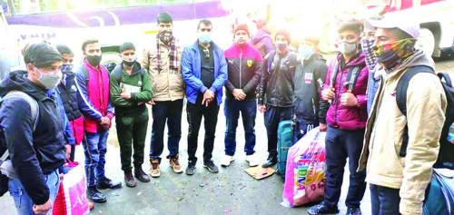 Ramban: Students flagged off for Snow Skiing training