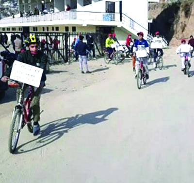 Cycle rally organised under Fit India campaign