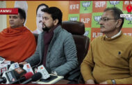 Union MoS & DDC Election Incharge Jammu Kashmir Anurag Thakur, J&K BJP President Ravinder Raina along with other senior leaders addressing a Press Conference at Party Headquarters, Trikuta Nagar, Jammu.
