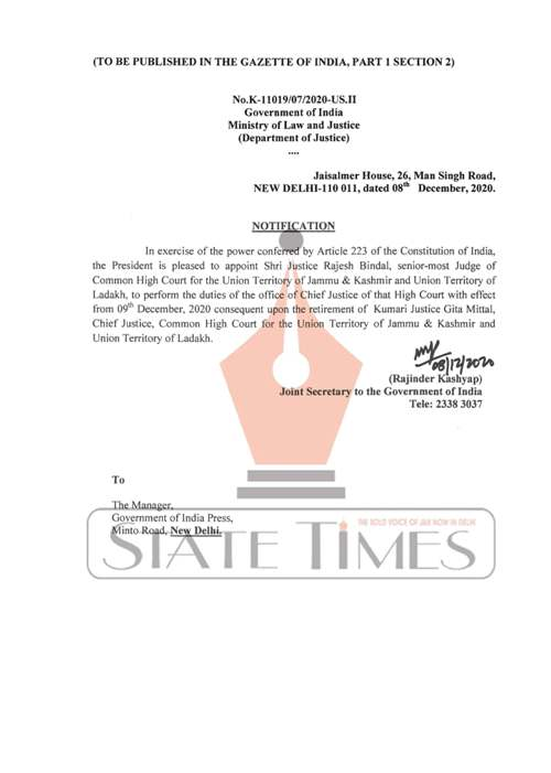 Justice Rajesh Bindal appointed as Chief Justice of J&K and Ladakh High Court