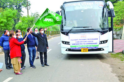 J&K Sarpanchs leave for training-cum-exposure tour to Uttarakhand