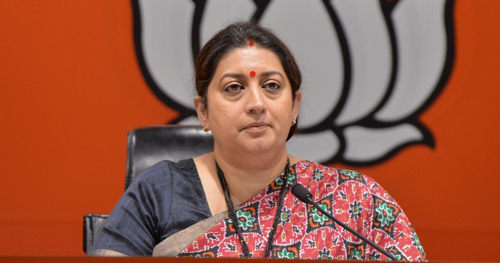 Irani targets Congress over farmers' welfare and cow protection